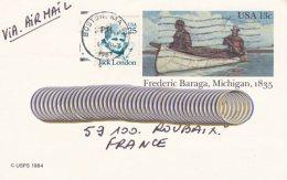 L4D211 ETATS-UNIS CP Entier Postal 13c Frederic Baraga Boston  Pour Roubaix France 01-07-1987 - First Day Covers (FDCs)
