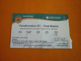 Panathinaikos-Real Madrid Euroleague Basketball Ticket Stub 20/03/2015 - Biglietti D'ingresso