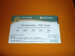 Panathinaikos-PGE Turow Euroleague Basketball Ticket Stub 17/10/2014 - Biglietti D'ingresso