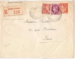 CTN45- ENVELOPPE TSC PAIX 50c + COMPL.TS EN RECOMMANDEE ENGHIEN LES BAINS / PARIS 12/2/1941 - Entiers Postaux