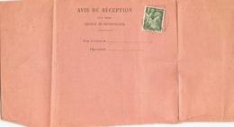 Avis De Reception Du 30 Novembre 1939 Pour Cap Martin Roquebrune - 1939-44 Iris