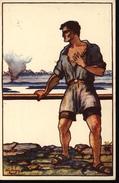 Suisse Entier August Herzog 1924 Fête Nationale Homme Blessé Compatriotes Necessiteux à L'étranger Colombe 10 Ct - Enteros Postales