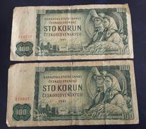 CZECHOSLOVAKIA  2x 100 Korun 1961 Prefix C & R P91 - Tchécoslovaquie