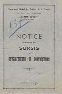 1941 - CHATEL-GUYON (63) CHANTIERS DE LA JEUNESSE - Notice Concernant Les SURSIS Et DEVANCEMENTS DE CONVOCATIONS - Documenti Storici