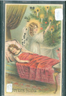 Relief - Gaufrée - Embossed - Prage -  Anges - Dorures - TBE - Noël