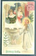 Relief - Gaufrée - Embossed - Prage - Ange Et Enfants - TBE - Noël