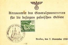Duitse Rijk, 1939, Nr 732, Amtsantritt Des Generalgouverneurs, Krakau (07724) - Lettres & Documents