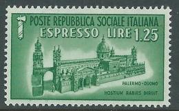 1944 RSI ESPRESSO DUOMO DI PALERMO 1,25 LIRE MNH ** - CZ39-5 - 4. 1944-45 Repubblica Sociale