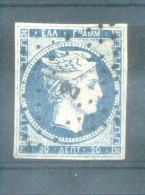 GREECE GRECIA GRECE ANS 1861-62 20 LEPTA FINE USED WITH GREAT MARGINS TIRAGE D'ATHENES PRINTING WITHOUT FIGURES ON BACK - Gebruikt