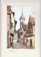 Vers 1960 - Aquarelle Originale Signée - Une Rue - Obernai (Bas-Rhin) - Une Rue - FRANCO DE PORT - Other Collections