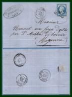 Gare De Caen T15 1865 Los.CnP /N° 22 > Forges D' Orthe Verso St Martin De Connée T22 + Amb J+N - Postmark Collection (Covers)