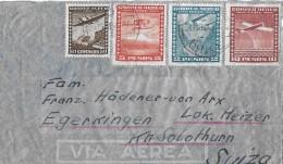 CHILE - EGERKINGEN → Via Aerea Mit Flugpost-Buntfrankatur Anno 1948 - Chili