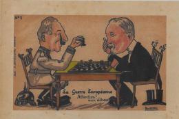 Gravure échecs Chess Kaiser Poincaré Allemagne Germany Guerre De 14-18 Format 20,5 X 14,5 NINOUVIS - Affiches