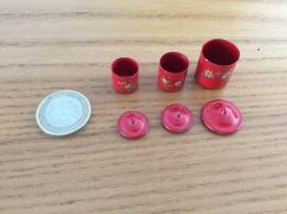 3 Mini Pots Avec Couvercles Métal Peint - Mobilier