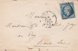 Yvert 14 Sur Lettre Cachet PARIS Losange E 6/11/1862 Pour Le Puy Haute Loire - Marcofilie (Brieven)