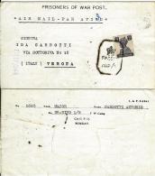 BIGLIETTO CAMPO PRIGIONIERI POW CAMP 28 YOL INDIA 1945 X VERONA BIS - 1900-44 Vittorio Emanuele III