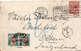 Grande Bretagne Lettre De Leeds Taxée En Suisse 1923 - Poststempel