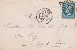 Yvert 14 Sur Lettre Cachet PARIS Losange J 13/11/1862 Pour Le Puy Haute Loire Ambulant Paris à Clermont 2° A - Marcofilie (Brieven)