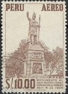 PERU 1952 Air. Manco Capac Monument - 10s. - Brown  FU - Peru