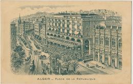 Alger Place De La Republique Carte Dessinée Biere Tourtel Tantonville Grand Café D' Alger - Algiers
