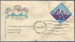 PAKISTAN 1969 MNH FDC FIRST DAY COVER UNIVERSAL CHILDREN DAY CHILD CHILDREN PLAYING OUTSIDE SCHOOL PLAYGROUND ODD SHAPE - Pakistan