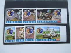 Liberia 1973 Apollo 17 Satz 7 Ungezähnte Marken! Raumfahrt. Postfrisch - Liberia