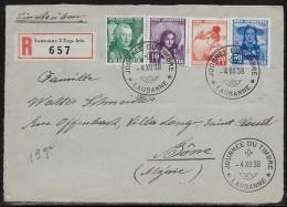 Suisse Recommandée - Zumstein  PJ.85 à 88 - Journée Du Timbre Lausanne 4-XII-38 Pour Bône (Algérie) - Suisse