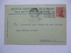 ITALY 1923 POSTCARD PALERMO TO NEW YORK USA - 1900-44 Victor Emmanuel III.