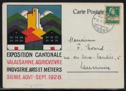 Suisse - Carte Postale Exposition Cantonale Valaisanne D'Agriculture - Zumstein  172 Pour Lausanne - Suisse