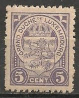 Timbres - Luxembourg - 1906-1908 - 5 Cent - Neuf Avec Trace De Charnière -