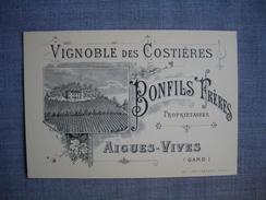 AIGUES VIVES  -  30  -  Gard  -  Vignobles Des Costières  BONFILS  -  Carte Publicitaire  -   8 X 12 Cms - Aigues-Vives