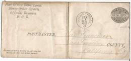 USA WASHINGTIN 1880 ENTERO POSTAL MONEY ORDER SYSTEM POST OFFICE