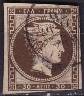 GREECE 1876 Large Hermes Head Paris Print 30 L Olive Brown Fine Printing Vl. 57 (spacefiller) - Gebruikt