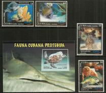 Les Fonds Marins De Cuba (faune Cubaine Protégée) Tortues,etc. Série Complète + Bloc-feuillet Neuf ** - Vita Acquatica