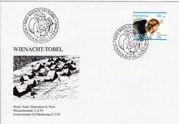 Weihnacht - Tobel, Weiler Tobel, Holzschnitt R. Peter. Weihnachtsmarkt 3.12.95. Sonderstempel 6.12.95 Mi. 1567 - Weihnachten