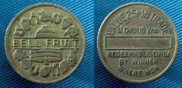 04358 GETTONE TOKEN JETON FICHA VENDING BELL FRUIT VALUE 25P IN TRADE IF OVER 18 YRS REDEEMABLE ONLY BY WINNER WHERE WON - Verenigd-Koninkrijk