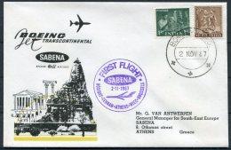 1967 India Belgium SABENA First Flight Cover Bombay - Athens, Greece