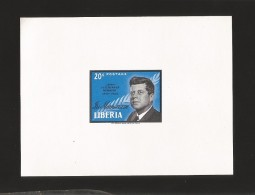 B)1964 LIBERIA, PRESIDENT, IN MEMORIAM,  JOHN  F KENNEDY, 414 A171 20c BLK & BRT  BLUE, SOUVENIR SHEET, MNH - Liberia