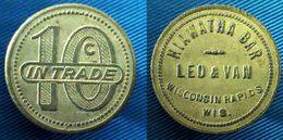 04357 GETTONE TOKEN JETON VENDING HIAWATHA BAR LEO & VAN WISCONSIN RAPIDS WIS. 10C IN TRADE - Sin Clasificación