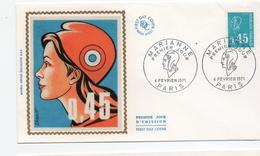 FDC France Marianne  BEQUET  0,45 BLEU  YT  1663    75 Paris  6/2/1971 - FDC