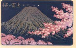 JAPAN  Telefonkarte - Lack  -110-011 -  Mt. Fuji - Vulkane