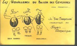 """BUVARD LES HOUILLERES DU BASSIN DES CEVENNES Vous Présentent Ses """"trois Mousquetaires"""" Conquérants Des Foyers - Buvards, Protège-cahiers Illustrés"""