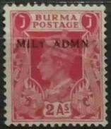 """BURMA 1945 Sobrecargados """"MILY ADMIN"""". USADO - USED - Myanmar (Burma 1948-...)"""