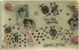 Theme Voeux De Bonheur Cpa  Mariage Noces Fortune Jeu De Cartes Femmes Photos - Huwelijken