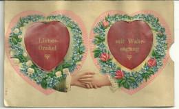 Theme Voeux De Bonheur Cpa Liebes Orakel Voyance Coeur Mains Fleurs Myosotis Muguet Systeme1907 - Noces