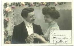Theme Voeux Cpa Souvenir De Fiançailles Art Nouveau 1907 - Noces