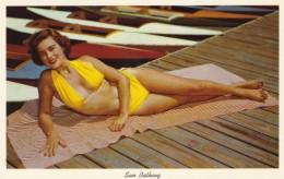 Beautiful Woman Bikini Sun-bathing Pin-up, C1950s Vintage Postcard - Pin-Ups