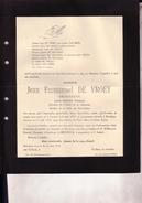 BERCHEM ANVERS Jean Emmanuel DE VROEY Architecte Conseiller Provincial 1872-1935 Doodsbrief VAN BREE - Décès