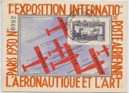 CTN45- 1ère EXPOSITION INTERNATIONALE DE POSTE AERIENNE PARIS 1930 - Marcofilia (sobres)
