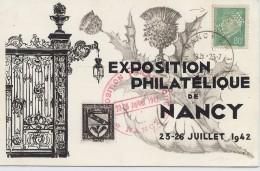 CTN45- EXPOSITION PHILATELIQUE DE NANCY JUILLET 1942 - Philatelic Exhibitions